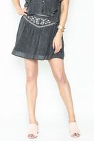 Solemio Embroidered Grey Skirt