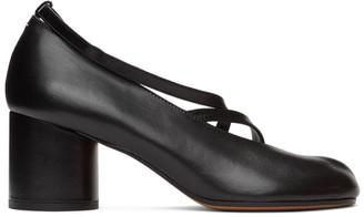 Maison Margiela SSENSE Exclusive Black Exposed Toe Ankle Strap Tabi Sandals