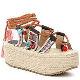 Coolway Bolero Embroidered Tassel Ankle Tie Espadrilles