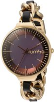 RumbaTime Women's 'Orchard Chain Leather' Quartz Metal and Alloy Casual Watch, Color: Black (Model: 26030)