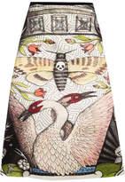 Gucci Printed Duchesse Silk-satin Midi Skirt - Beige