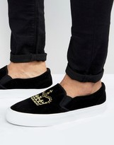 Asos Slip On Sneakers in Black Faux Suede With Crown Embroidery