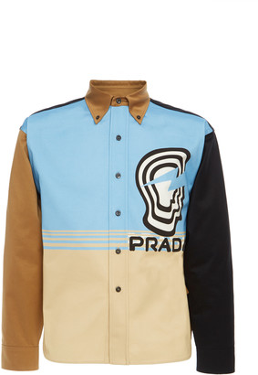 Prada Printed Colorblock Cotton Button-Down Shirt