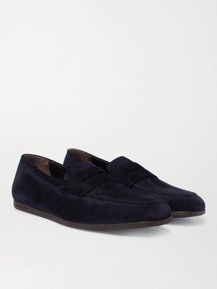 J.M. Weston Suede Penny Loafers
