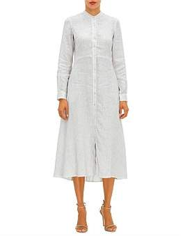 120% Lino 120 Lino Button Down L/S Shirt Dress
