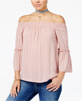 Hippie Rose Juniors' Bell-Sleeve Off-The-Shoulder Top