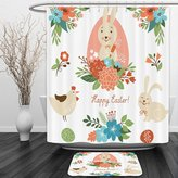 Vipsung Shower Curtain And Ground MatEaster Holiday Gifts White Green Blue Red CoralShower Curtain Set with Bath Mats Rugs