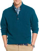 Izod Long-Sleeve Button Mockneck Sweater