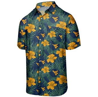 Men's Navy West Virginia Mountaineers Floral Button-Up Shirt