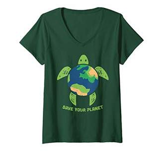 Womens Earth Day Shirt Save Your Planet Turtle Animal Environment V-Neck T-Shirt
