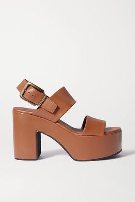 Dries Van Noten Leather Platform Sandals - Tan