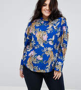 Asos Top With Extreme Sleeve in Floral Tiger