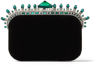 Jimmy Choo CLOUD Black Velvet Clutch Bag with Dark Green Crown Jewels