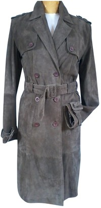 Non Signé / Unsigned Non Signe / Unsigned Grey Leather Coat for Women