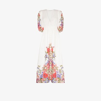 Zimmermann Poppy shirred waist floral linen midi dress