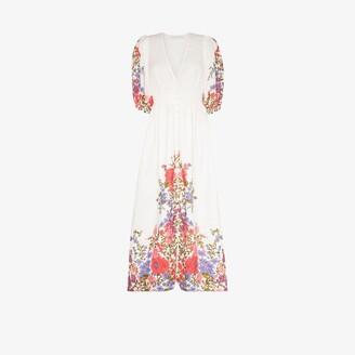 Zimmermann Poppy shirred waist floral linen midi dress