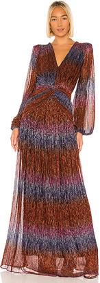 PatBO Rainbow Lurex Long Sleeve Gown