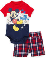 Children's Apparel Network Mickey Mouse Red & Navy Bodysuit & Plaid Shorts - Infant