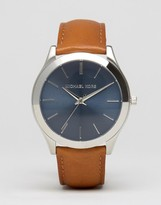Michael Kors Slim Runway Leather Watch In Tan MK8508