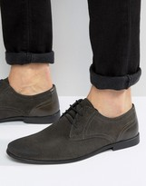 Asos Lace Up Shoes In Gray Suede