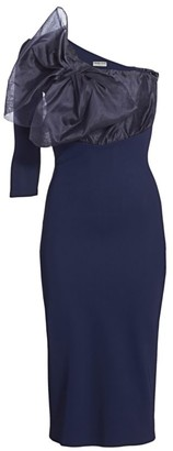 Chiara Boni Caltha Organza Bodice Asymmetric Bodycon Dress