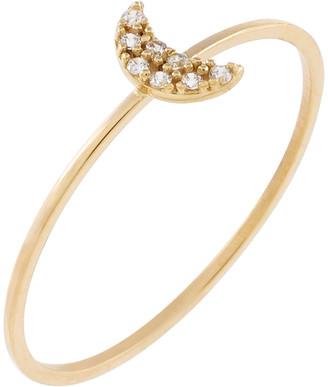 Adina's Jewels 14k Gold Pave CZ Crescent Ring, Size 6-8