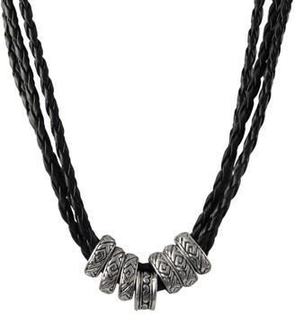 Luxiro Rhodium Finish Ethnic Tribal Beads Faux Leather Braided Rope Necklace - Black