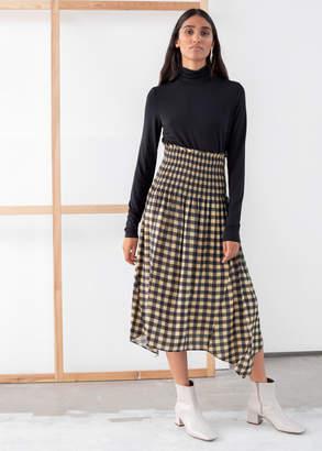 And other stories Smocked Waist Plaid Midi Skirt