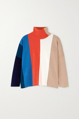 Victoria Victoria Beckham Victoria, Victoria Beckham - Color-block Stretch-knit Turtleneck Sweater - Red