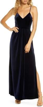 Lulus Final Song Strappy Back Velvet Gown