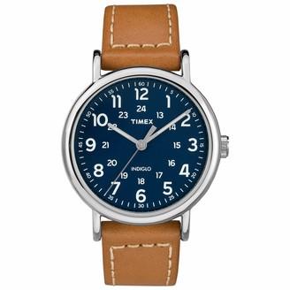 Timex Unisex T2P495 Weekender 40mm Brown Leather Slip-Thru Strap Watch