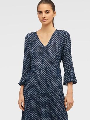 DKNY Women's Printed Long Sleeve Maxi Dress - Ink Ivory Multi - Size M