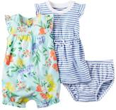 Carter's Baby Girl Floral Bubble Romper & Striped Dress Set