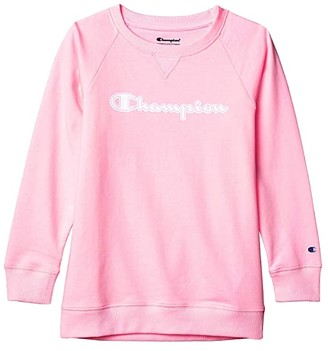 Champion Kids French Terry Crew with High Density Script (Big Kids) (Pink Candy) Girl's Clothing