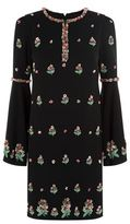 Andrew Gn Floral Embellished Bell Sleeve Dress