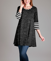 Aster Gray & White Stripe Three-Quarter Sleeve Tunic - Plus Too