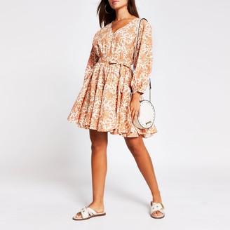 River Island Womens Orange short sleeve full skirt mini dress