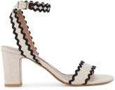 Tabitha Simmons Nude Black Leticia Heeled Sandals - women - Linen/Flax/Leather - 36