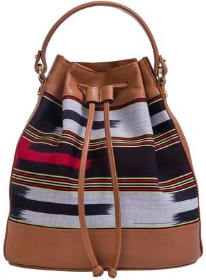 Kuz Calf Leather Tobacco Colored Bag With Handloomed Peshtemal Fabric