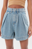 BDG Pleated High-Waisted A-Line Short Light Wash