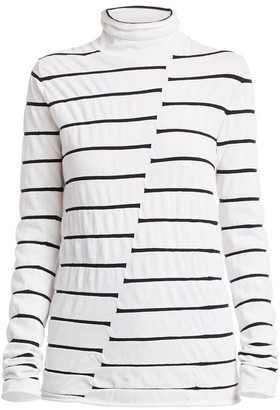 Proenza Schouler White Label Striped Asymmetric Turtleneck Top