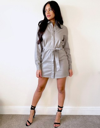 Stradivarius faux leather belted shirt dress in light grey