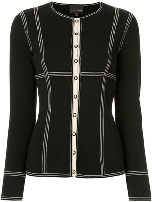 Fendi Pre Owned Striped Details Fitted Cardigan