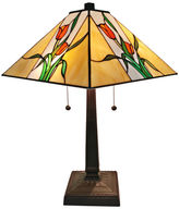 AMORA Amora Lighting AM200TL14 Tiffany Style Floral Finish Mission Table Lamp 21 inches
