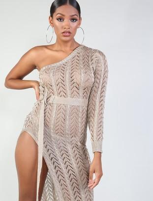 Public Desire One Shoulder Metallic Maxi Dress