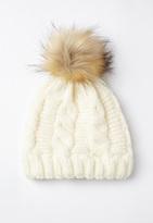 Missguided Cream Cable Knit Pom Pom Beanie