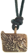 Catherine Michiels Friquette Charm on Green Leather Necklace - Bronze