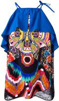 Roberto Cavalli abstract print ruffled blouse