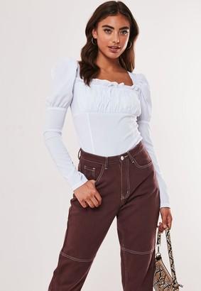Missguided White Milkmaid Puff Sleeve Bodysuit