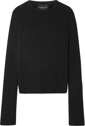 Calvin Klein Striped Ribbed Wool-blend Sweater